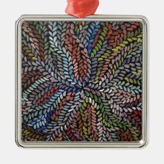 Ornement Carré Argenté Feuille multicolore de médecine de buisson