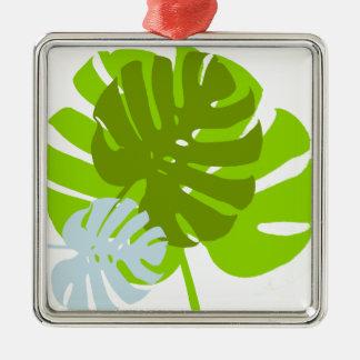 Ornement Carré Argenté feuilles
