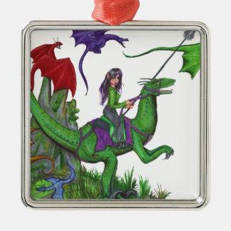Ornement Carré Argenté Fille avec des dragons et des dinosaures