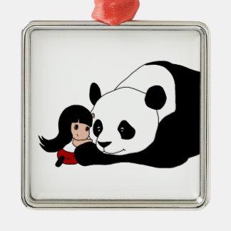 Ornement Carré Argenté Fille et panda