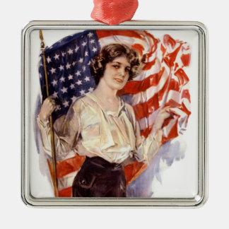 Ornement Carré Argenté fille vintage de drapeau américain