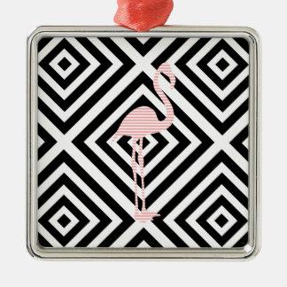 Ornement Carré Argenté Flamant - motif géométrique abstrait - rose