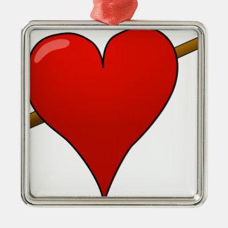 Ornement Carré Argenté Flèche par le coeur