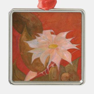 Ornement Carré Argenté Fleur 10