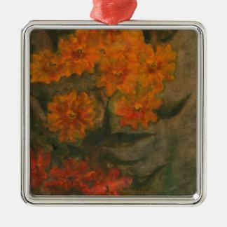 Ornement Carré Argenté Fleur 5