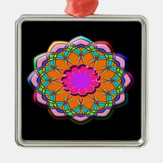 Ornement Carré Argenté Fleur abstraite colorée