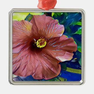 Ornement Carré Argenté Fleur artistique de ketmie de rose poussiéreux