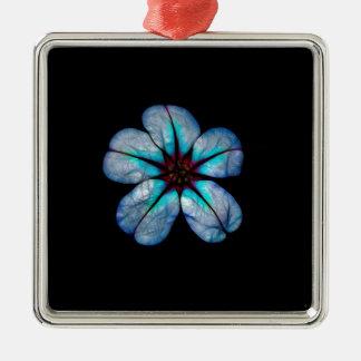 Ornement Carré Argenté Fleur au néon 1