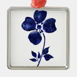 Ornement Carré Argenté Fleur bleue