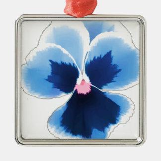Ornement Carré Argenté Fleur bleue 201711c de pensée