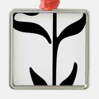 Ornement Carré Argenté Fleur croissante