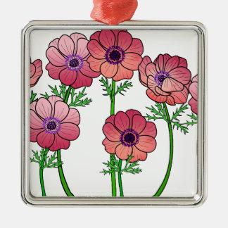 Ornement Carré Argenté fleur d'anémone