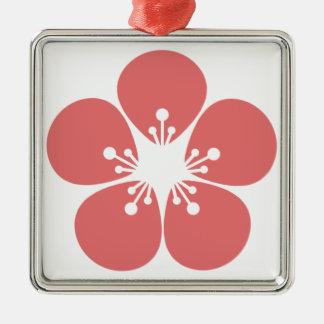 Ornement Carré Argenté Fleur de Sakura