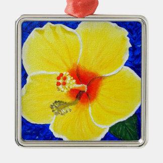 Ornement Carré Argenté Fleur jaune de ketmie