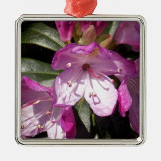 Ornement Carré Argenté Fleur rose