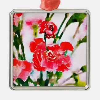 Ornement Carré Argenté Fleur rouge v2