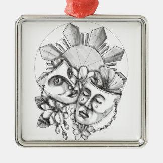Ornement Carré Argenté Fleur S philippin de Sampaguita de ketmie de