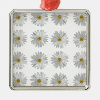 Ornement Carré Argenté fleurs