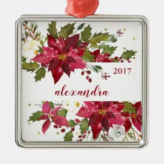 Ornement Carré Argenté Fleurs d'aquarelle de Joyeux Noël avec des points