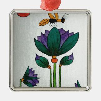 Ornement Carré Argenté Fleurs de Lotus avec l'abeille