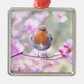 Ornement Carré Argenté fleurs de rose d'oiseau de ressort