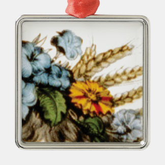 Ornement Carré Argenté fleurs et blé