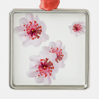 Ornement Carré Argenté Fleurs roses de Sakura de fleurs de cerisier dans