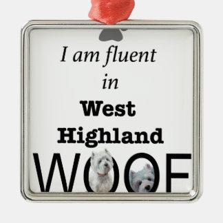 Ornement Carré Argenté Fluide dans Woof des montagnes occidental