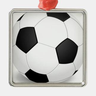 Ornement Carré Argenté Football - Soccer Ball
