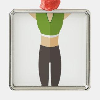 Ornement Carré Argenté Formation de femme de forme physique