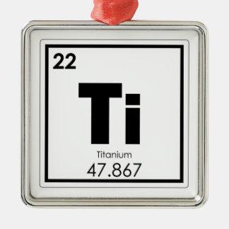 Ornement Carré Argenté Formule titanique de chimie de symbole d'élément