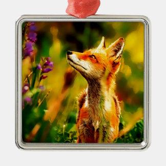 Ornement Carré Argenté Fox de ressort