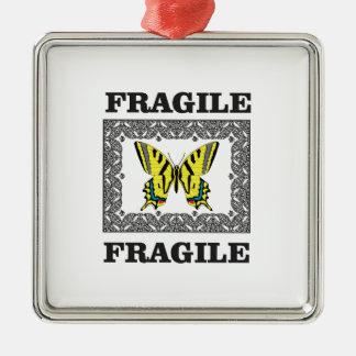 Ornement Carré Argenté fragile jaune