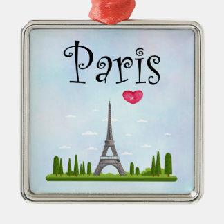 Ornement Carré Argenté Français Paris avec Tour Eiffel