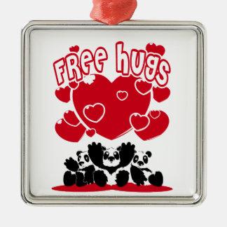 Ornement Carré Argenté Free_Hugs