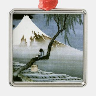 Ornement Carré Argenté garçon de 北斎 et beaux-arts de Mt Fuji