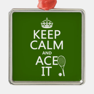 Ornement Carré Argenté Gardez le calme et Ace le (le tennis) (dans toute