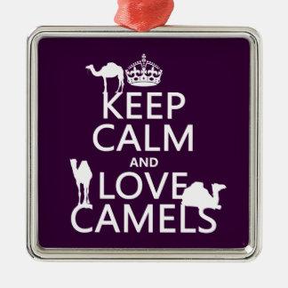 Ornement Carré Argenté Gardez le calme et aimez les chameaux (toutes les