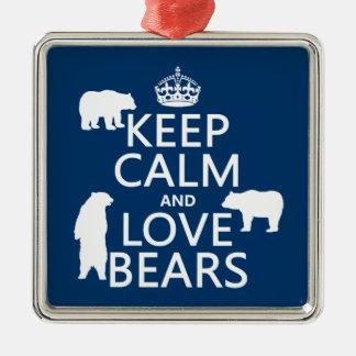 Ornement Carré Argenté Gardez le calme et aimez les ours (dans toutes les