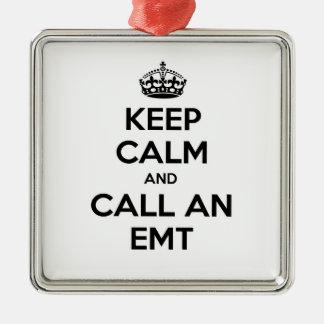 Ornement Carré Argenté Gardez le calme et appelez un EMT