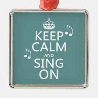 Ornement Carré Argenté Gardez le calme et chantez dessus - toutes les