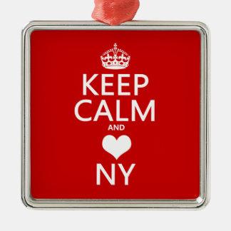 Ornement Carré Argenté Gardez le calme et le coeur New York (les couleurs