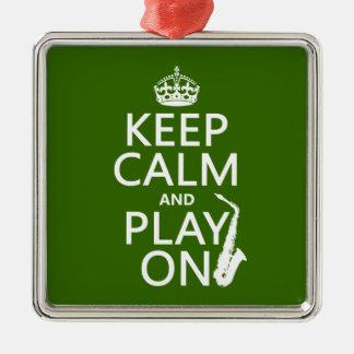 Ornement Carré Argenté Gardez le calme et le jeu sur (saxophone) (toute