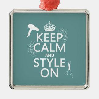 Ornement Carré Argenté Gardez le calme et le style sur (toute couleur
