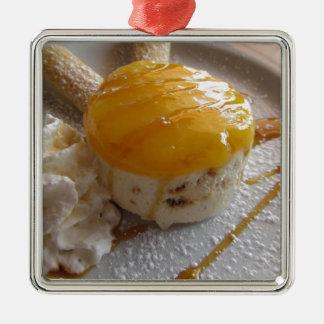 Ornement Carré Argenté Gâteau couvert par confiture de crème glacée
