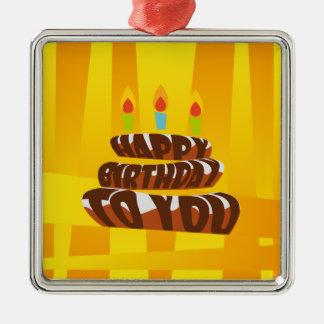 Ornement Carré Argenté Gâteau de joyeux anniversaire d'illustration avec