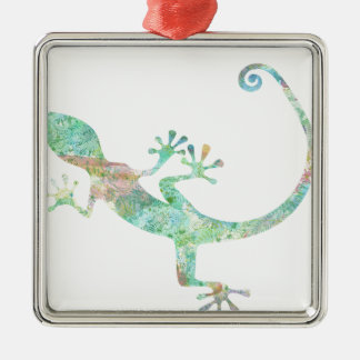 Ornement Carré Argenté Gecko