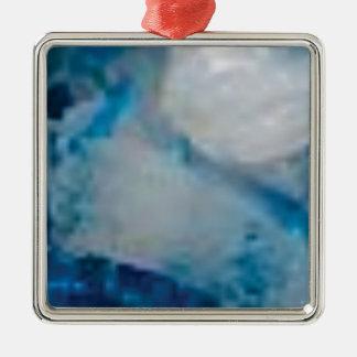 Ornement Carré Argenté gemme de couleur bleue