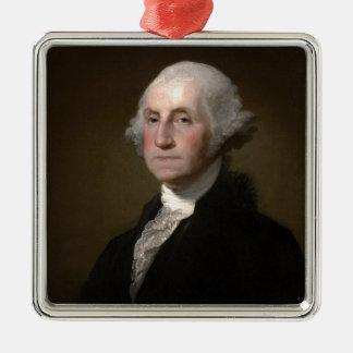 Ornement Carré Argenté George Washington - portrait vintage d'art