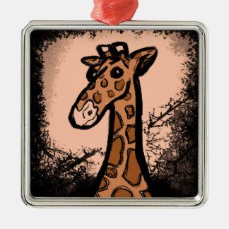 Ornement Carré Argenté Girafe noire d'encre de bande dessinée